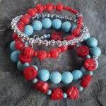 Turquoise and Red Four Bracelet Sta..