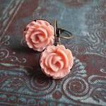 Pink Cabbage Rose Earrings