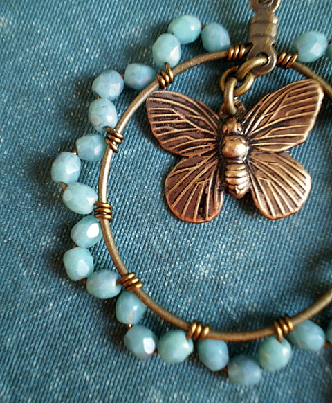 Butterfly Hoops in Turquoise