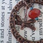 Dragonfly Garden Earrings in Copper and Brass