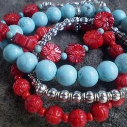 Turquoise and Red Four Bracelet Stack